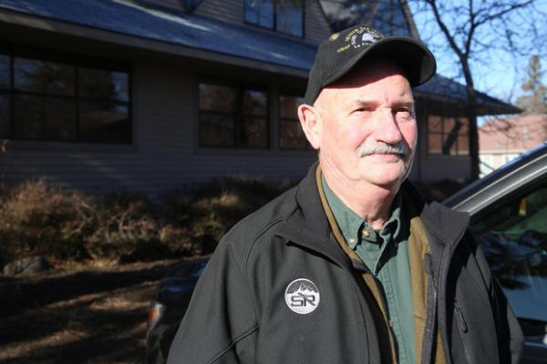 """<p>La Pine, Ore., resident Mike McCarter on Feb. 19, 2020. McCarter, part of the separatist group Move Oregon's Border for a Greater Idaho, said rural counties are """"outraged by liberal policies from the Oregon Legislature that threaten their livelihoods, industries and values.""""</p> <p>&nbsp;</p>"""