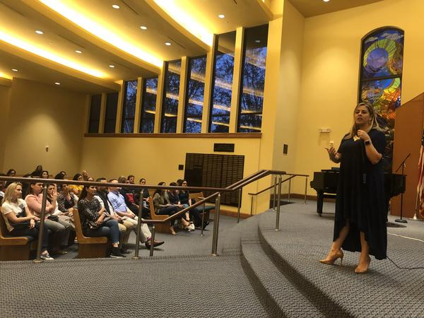 Somerset Parkland Academy's incoming principal, Geyler Herrera Castro, gives a presentation during a parent information session at the Jewish synagogue Kol Tikvah in Parkland on Feb. 25.