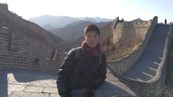 Aidan Chau at the Great Wall of China.