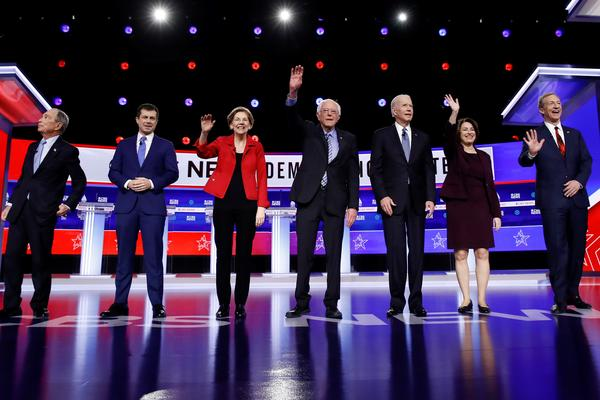 From the left, former New York City Mayor Mike Bloomberg, former South Bend Mayor Pete Buttigieg, Sen. Elizabeth Warren, D-Mass., Sen. Bernie Sanders, I-Vt., former Vice President Joe Biden, Sen. Amy Klobuchar, D-Minn., and businessman Tom Steyer.