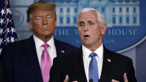 Vice President Mike Pence speaks after President Trump announced he had put him in charge of the administration's coronavirus response.