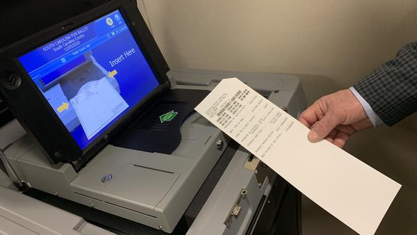 South Carolina's new voting machines mark a paper ballot with a bar code and the selected candidates' names.