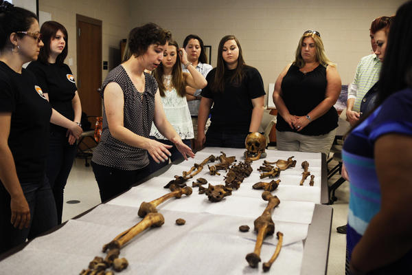 <br />Angela Dautartasa, a Ph.D. candidate, examines a human skeleton for a group of visiting college students at the University of Tennessee, Knoxville.