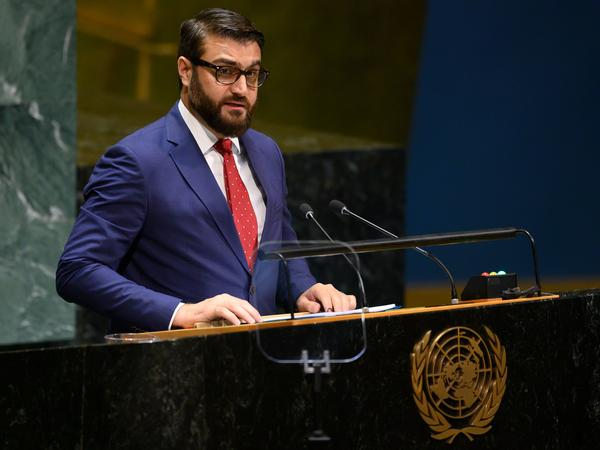 Hamdullah Mohib, Afghanistan's national security adviser, speaks during the United Nations General Assembly in New York City on Monday. After U.S.-Taliban talks excluded Afghanistan's government and collapsed last month, Mohib tells NPR that the only way to lasting peace is to include the country's leaders.