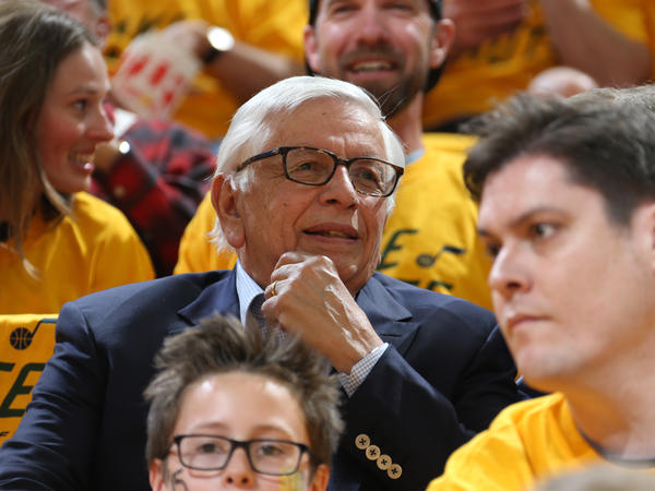 Former NBA Commissioner David Stern attends a game between the Houston Rockets and the Utah Jazz during the Western Conference Semifinals in 2018. Stern died Wednesday at the age of 77.
