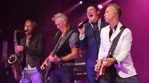 (L-R) Steve Norman, Martin Kemp,Tony Hadley and Gary Kemp of the band Spandau Ballet perform live in 2015.
