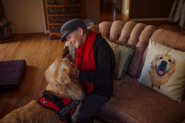 Peggy Gibson sits in her living room with her service dog, Rocky, in West Jefferson, N.C., last November. Gibson says Rocky, a diabetic alert dog, isn't able to work well in public.