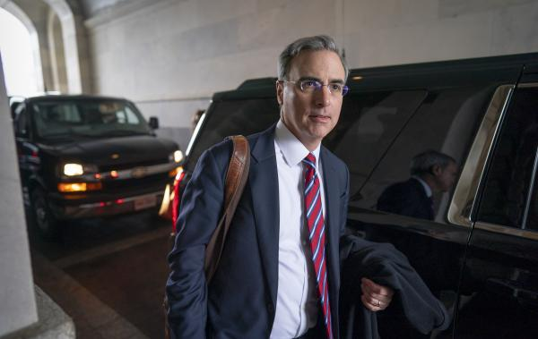 White House counsel Pat Cipollone departs the Senate following defense arguments by the Republicans in the impeachment trial of President Trump. The trial resumed on Monday.