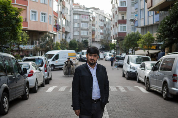 Uighur writer and poet Abdurehim Imin Parach stands in the Zeytinburnu neighborhood of Istanbul. He has been detained twice by Turkish authorities. NPR spoke to more than a dozen Uighurs in Istanbul who detailed how Turkish police arrested them and sent them to deportation centers, sometimes for months, without telling them why they had been detained.
