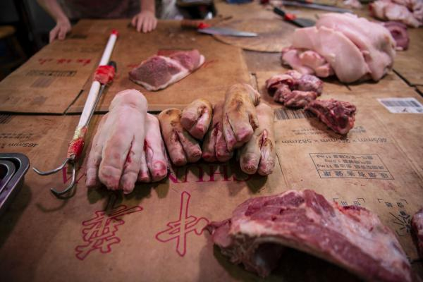 Raw pork is on the selling block.
