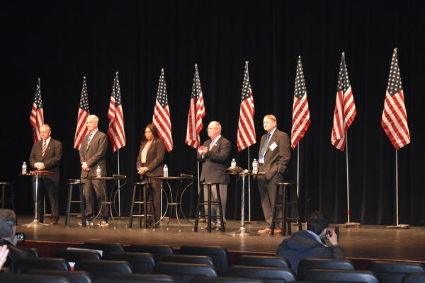 From left to right: Casey Chlebek, Mark Curran, Peggy Hubbard, Tom Tarter, and Robert Marshall