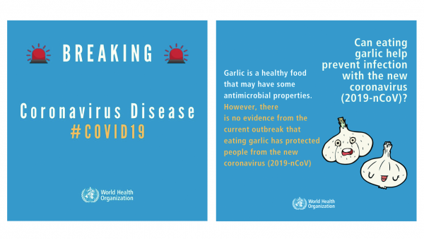 The World Health Organization is sharing social media posts to debunk widely circulated rumors about coronavirus cures.