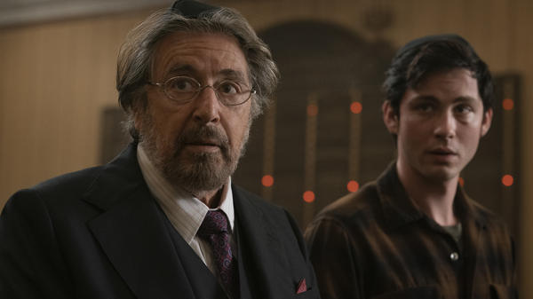Yes, Al Pacino (seen here with Logan Lerman) is in <em>Hunters</em>, Amazon's new show about a band of Nazi hunters in the 1970s, but he's not the most interesting thing about it.