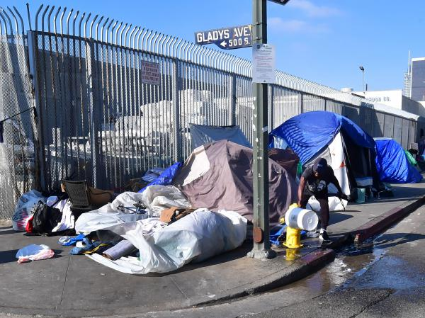 Tents line a street in Los Angeles on Jan. 8. California Gov. Gavin Newsom said his state budget will include more than $1 billion directed toward homelessness in response to a growing crisis on the streets on California's major cities.