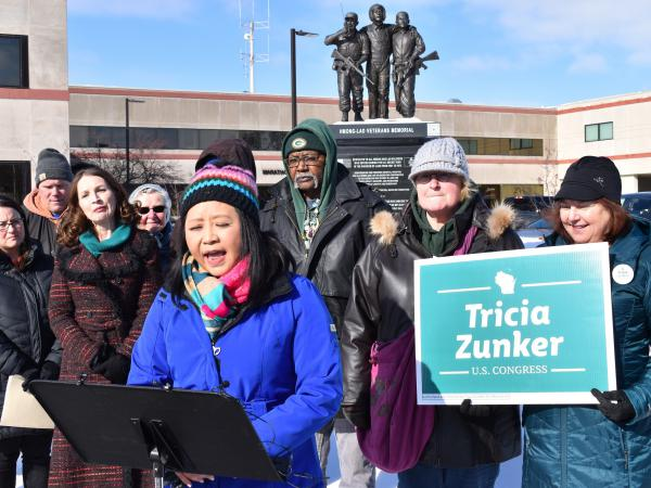 Ka Lo, a member of the Marathon County Board in Wausau, Wis., spoke about the Trump administration's immigration policies at a Feb. 13 rally in the city.