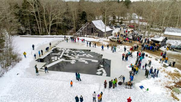 A crowd gathers at the South Bristol's annual ice harvest.