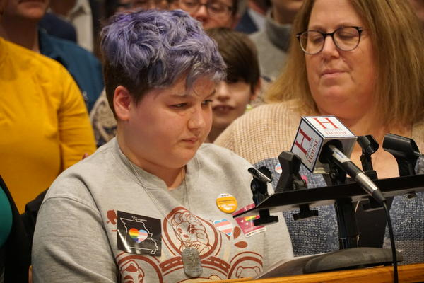 Corey Hyman, a transgender 14-year-old from St. Charles, spoke at a press conference held by House Democrats on Wednesday. He spoke against a proposed constitutional amendment that mandates student athletes to compete with their biological sex.