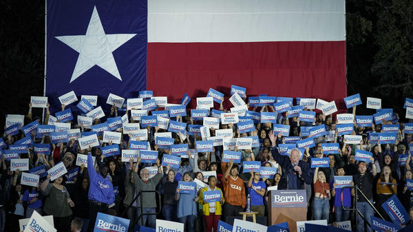 Democratic presidential candidate Sen. Bernie Sanders of Vermont speaks during a campaign rally this month in Austin, Texas. The state's electorate is undergoing a rapid demographic change that's making the state more hospitable to Democrats for the first time in a generation.