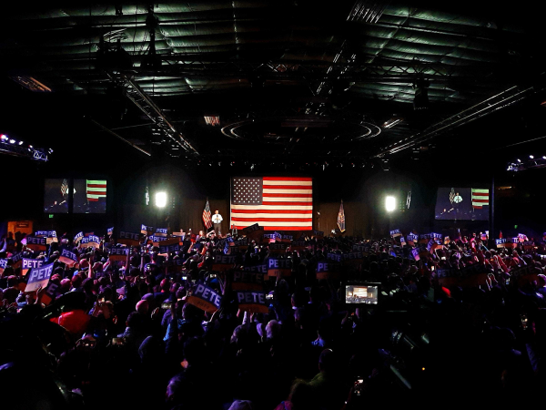 Democratic presidential nominee Pete Buttigieg speaks in front of about 4,000 people in Salt Lake City, Utah. Some members of the crowd are progressive members of the Church of Jesus Christ of Latter-day Saints.