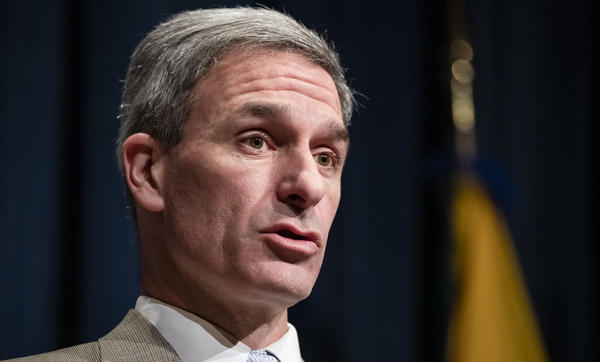 Ken Cuccinelli speaks on Feb. 7 in Washington. A federal judge said his appointment to lead U.S. Citizenship and Immigration Services was unlawful.