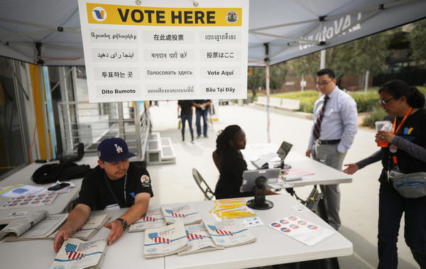 California holds early voting at a new LA County mobile vote center on Feb. 27 in Los Angeles. The state's presidential primary is on Super Tuesday, March 3.