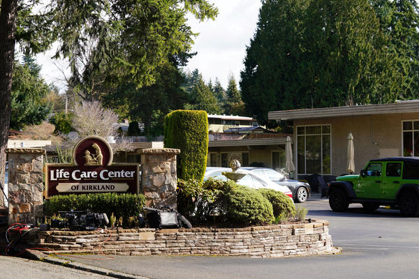 The Life Care Center of Kirkland where a number of residents have become infected with Covid-19. Kirkland, Washington, Sunday, February 29, 2020.