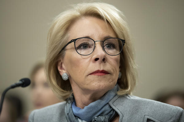 U.S. Education Secretary Betsy DeVos testifies on Capitol Hill on Feb. 27.