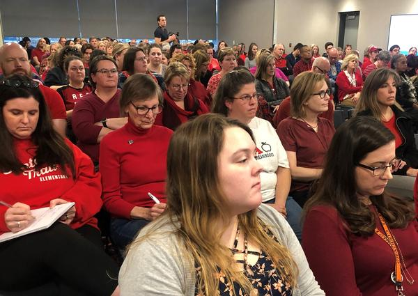 Teachers packed the Jan. 9 fact-finding hearing at the Center for Academic Achievement in the Shawnee Mission School District.