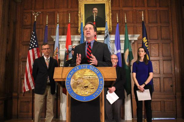 Gov. Steve Bullock annonces his Coronavirus Task Force on March 3, 2020 in response to the growing number of cases reported in the United States. Bullock says the task force is a multi-agency group that will coordinate public health response.