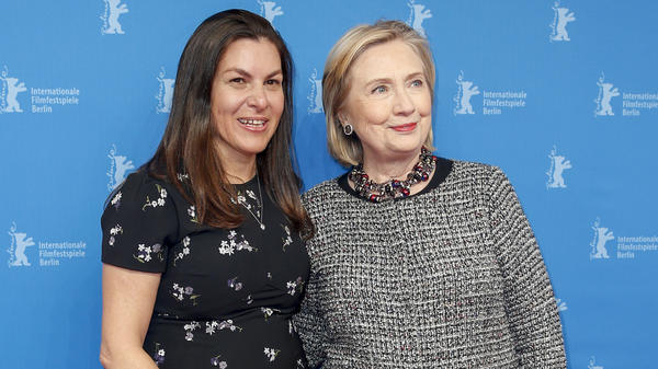 Filmmaker Nanette Burstein and Hillary Clinton pose at the <em>Hillary</em> premiere during the 70th Berlinale International Film Festival on Feb. 24, 2020 in Berlin.