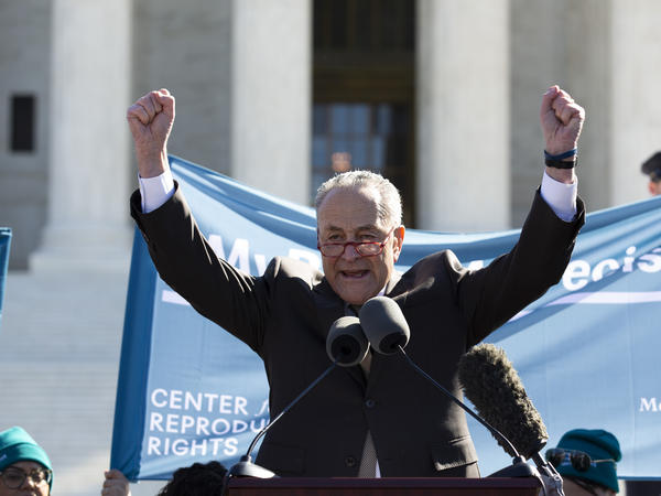 Senate Minority Leader Chuck Schumer speaks Wednesday at an abortion-rights rally outside the U.S. Supreme Court in Washington. Inside the court, justices heard argument in the first major abortion case of the Trump era. Schumer's remarks Wednesday critical of the court's two Trump-appointed justices drew a rare rebuke from Chief Justice John Roberts.