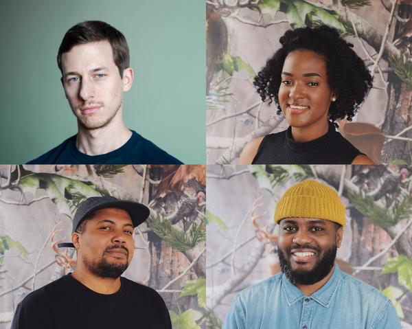 Business Hours, a semi-annual networking event, will be organized by Louis Quatorze. Clockwise from top left: Quatorze and panelists Ymani Wince, James Biko and Blvck Spvde.