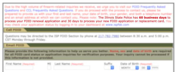 The website of the Illinois State Police Firearm Services Bureau explains how much time it has to process FOID renewals and applications. Republican legislators say the agency is not meeting those requirements.