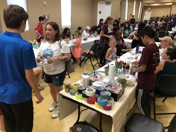 Lori Alhadeff, left, visits an art therapy event at Pine Trails Park marking two years since her daughter, Alyssa, and 16 others were killed at Marjory Stoneman Douglas High School in Parkland. Alhadeff is now a member of the Broward County School Board.