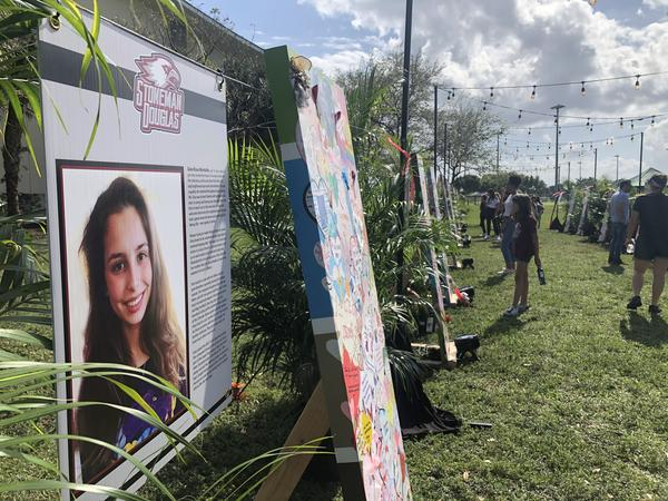 A memorial was set up in Pine Trails Park to honor the 17 people killed in the Parkland shooting two years ago.