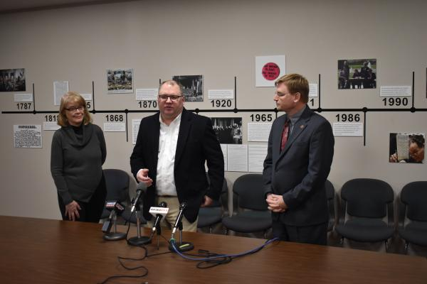 McLean County Clerk Kathy Michael, Peoria County Election Commission Executive Director Tom Bride, and Tazewell County Clerk John Ackerman at a press conference 3/5/20.