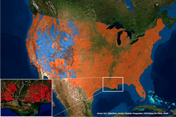 Federally protected lands (light blue) stem the loss of endangered species' habitat compared to private unprotected lands (orange) in the U.S.