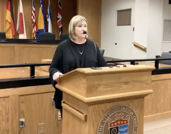 A screenshot of Dayton Mayor Nan Whaley's press conference, streamed live on Facebook.