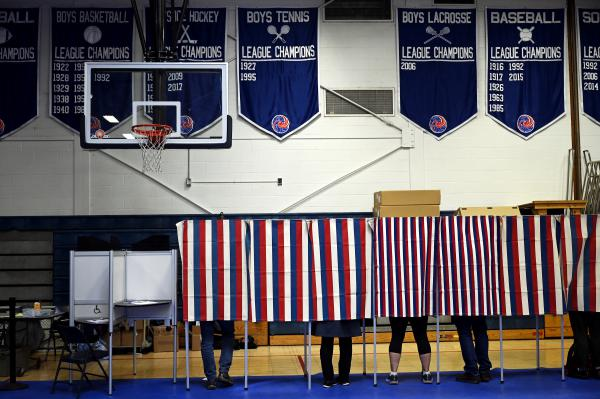 Voters at the Hartford High School on March 3, 2020, in White River Junction, Vermont.