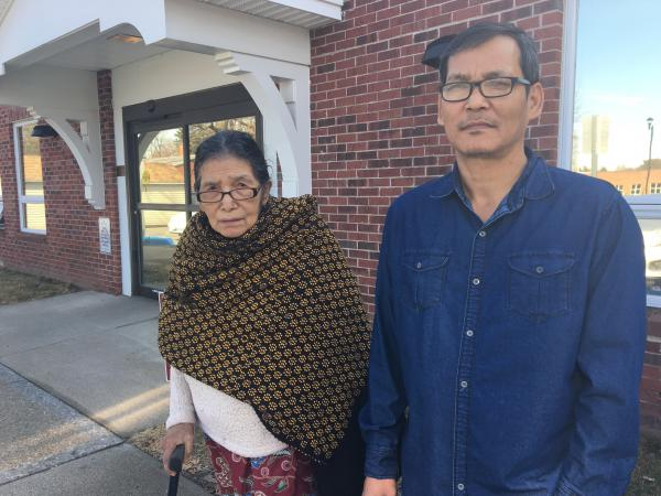 Man Tamang, 84, at left, with her son Dil, 47, in West Springfield, Mass. Dil has two sons and voted for Bernie Sanders because he might decrease student debt. The Tamangs spent 22 years in a refugee camp in Nepal before coming to the U.S. a decade ago.