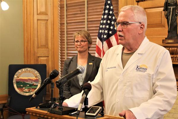 State health secretary Lee Norman at a press conference Saturday confirming the first known case of Covid-19 coronavirus in Kansas.
