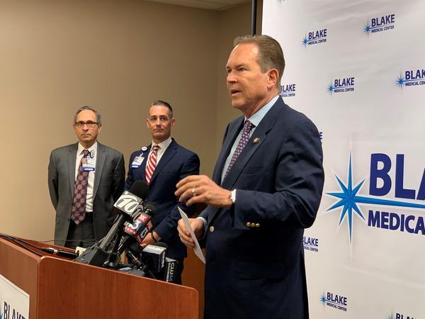 Congressman Vern Buchanan addresses reporters at Blake Medical Center in Bradenton on Monday, March 9, 2020.