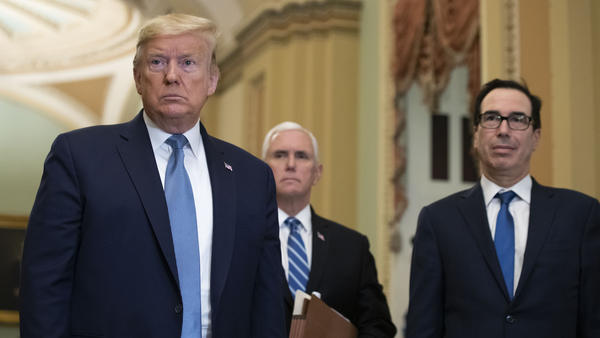 President Trump, accompanied by Vice President Pence and Treasury Secretary Steve Mnuchin, met with GOP senators about the coronavirus on Tuesday.