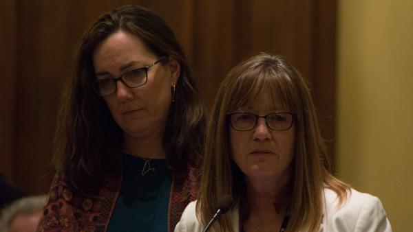 State Sen. Melinda Bush, right, is pictured in this file photo from 2019.