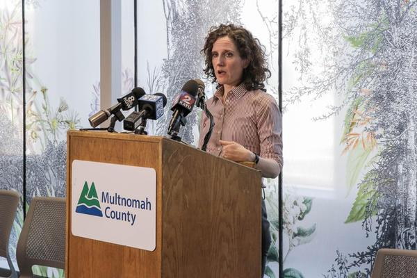 <p>Tri-county health officer Dr. Jennifer Vines briefs reporters at the Multnomah County Health Department in Portland, Ore., March 9, 2020. The first presumptive positive case of COVID-19 in a person living in Multnomah County brings the state&rsquo;s total to 15.</p>