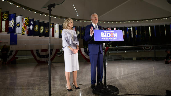 Democratic Presidential candidate former Vice President Joe Biden addressed the media and a small group of supporters with his wife Dr. Jill Biden as results came in for Tuesday's primaries. Biden canceled a planned rally because of concerns about the coronavirus.