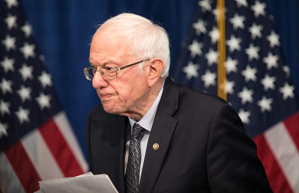 Democratic presidential candidate Sen. Bernie Sanders of Vermont walks away from the podium after delivering a campaign update at the Hotel Vermont on Wednesday in Burlington.