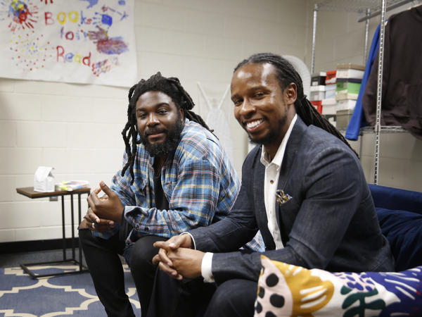 Authors Jason Reynolds, left, and Ibram X. Kendi spoke to students at a high school in Washington D.C. about their new book, <em>Stamped: Racism, Antiracism and You.</em>
