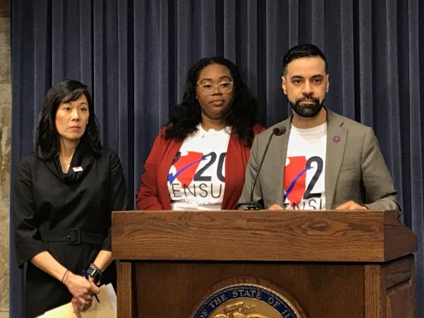 From left, IDHS Director Grace Hou and Illinois Census Directors Marishonta Wilkerson and Oswaldo Alvarez address the media about the launch of the 2020 U.S. Census online form.