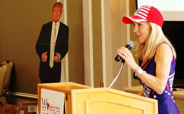 Women For Trump Florida founder Caroline Wetherington speaks at the event